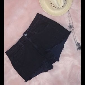 Mossimo black high rise denim cut off shorts